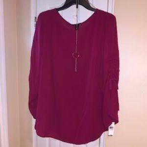 Womens Split  Sleeve Blouse w/Necklace